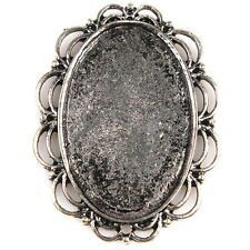 7x 161753 Charm Moon Lace Antique Silver Oval Alloy Cabochon Setting Accessory