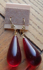 Artisan Earrings Hand Crafted Lucite Cherry Amber Color Teardrop Silver Wires