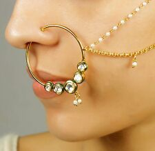 KN-19 INDIAN BOLLYWOOD BELLY DANCE GOLD PLATED BRIDAL NOSE RING NATH JEWELRY