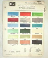 1969 AMC R-M  COLOR PAINT CHIP CHART JAVELIN AMX  MORE