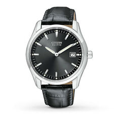 Brand New Citizen AU1040-08E Mens Black Leather Strap Band Dial Eco-Drive Watch