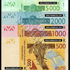 SET OF 4 BANKNOTES - West African States 5000/2000/1000/500 Francs SENEGAL 2003