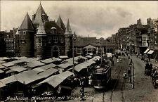 Amsterdam Niederlande ~1930 Nieuwmarkt Waag Gebouw Marktplatz Tram Straßenbahn