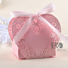 60 Pink Romantic Heart Wedding Favour Party Gift Candy Paper Box with Ribbon