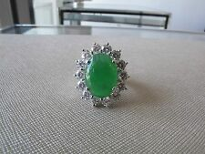 NATURAL GREEN JADE & DIAMOND RING GIA CERT 11.45 CARATS TOTAL!!! BREATHTAKING