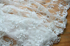"Lace Fabric White Embroidery Flower Wedding Fabric 49.2"" width 1 yard"