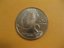 1986 Philippines 50 sentimos coin Eagle attacking, bird, animal wildlife nice