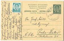 KINGDOM OF YUGOSLAVIA 1937 CAVTAT CROATIA STATIONERY CARD UP-RATED ABROAD to ČSR