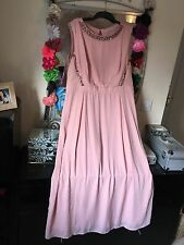 BNWOT GEORGE PINK JEWELLED CHIFFON MAXI DRESS SIZE 22/24 PARTY WEDDING PROM