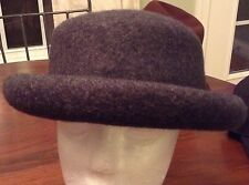 AMANDA SMITH Women's Bowler Style Hat Gray 100% Wool Made In Italy