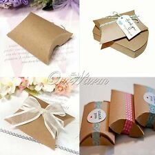 Ourwarm 50 Kraft Paper Pillow Candy Gift Boxes for Wedding Party Ceremony Decor