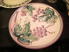 "Large 13"" Hand Painted Pottery Charger Grapes & Leaves Wanita Parrot"