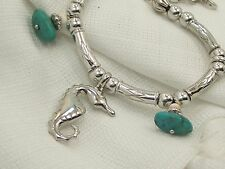 Estate Sterling Silver William Kovel Seahorse & Turquoise Beach Charm Bracelet