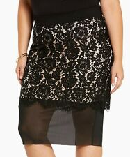 torrid size 3 pencil skirt 22/24 floral lace sheer layered elastic waist ~ new