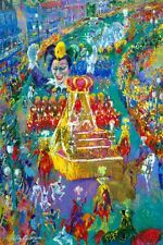 "Leroy Neiman ""MARDI GRAS"" Colorful Parade Marching band Floats Art Postcard"