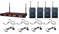 4 Channel UHF Wireless Cordless 4 Headset 4 Lavalier Lapel Microphone System