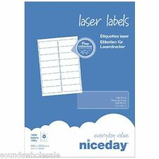NICEDAY LASER LABELS 100 SHEETS - 14 PER SHEET - HIGH QUALITY - FREE P&P 99X38MM