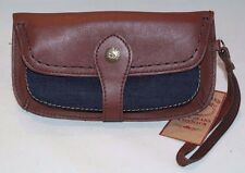 Vintage Lucky Brand Leather Wristlet Wallet Bourbon Brown/Denim HORUD677 NWT