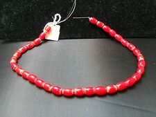 Red 6-Layer Oval Chevron Glass Beads, Strand of Approx. 33 Beads