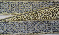"Antique Pugin Reproduction Jacquard Trim Gold & Blue 1 5/8"" Wide Vestment Sewing"