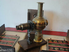 ANTIQUE LATERNA MAGICA MAGIC LANTERN ATLAS BRASS PROJECTOR BOXED SET & SLIDES