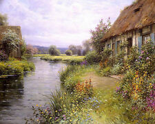 Oil painting a bend in the river beautiful spring landscape with house by creek