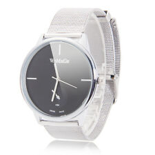 New Fashion Mens Simple Style Super Slim Black Alloy Case Steel Band Wrist Watch