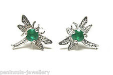 9ct White Gold Emerald Dragonfly Stud Earrings Gift Boxed Made in UK