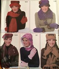NEW & VINTAGE 2002 SIMPLICITY 5857 ADULT HATS GLOVES SCARVES SEWING PATTERN