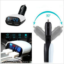 3.4A Autos Travel Dual USB Charger Lighter Socket Adapter With Blue LED Display