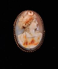 Vintage 12K Victorian Hand Carved Shell Cameo Brooch