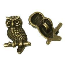 2 Pcs Zinc Alloy Antique Bronze Single Hole Shank Button Metal Buttons Owl (182)