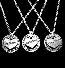 3 Necklaces Forever Partners In Crime Big Sister Middle Sister Little Sister Set