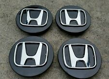 Honda set 4 center cap emblems hub caps cover black chrome rims Accord Civic