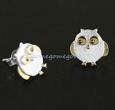 925 Sterling Silver - Chic Golden Owl Bird Brushed Club Party Lady Mini Earrings