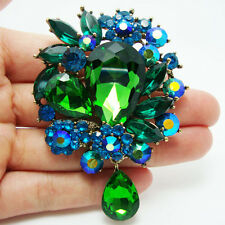 Retro Exquisite Emerald Green Crystal Droplets Rhinestone Flower Pendant Brooch