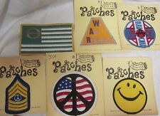 Vintage 6 American USA Flag Peace Symbol Patch Lot WAR Hippie Stripes Fabric Sew