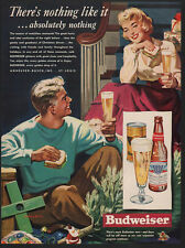 1949 Husband & Wife - Christmas Tree - Gifts - Drink BUDWEISER BEER VINTAGE AD