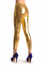Gold Shiny Faux Leather Wet Look With Side Zip (L000284)