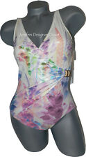 NWT GOTTEX swimsuit 6 tummy control shiny wet look floral draped surplice pastel