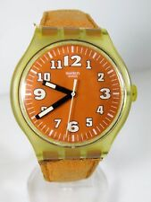 SWATCH AG 2001 Quartz  Watch Orange Dial Swiss Mov' Transparent Back Men's