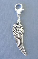 Angel Wing Clip On Charm with Lobster Clasp Fit Link Chain, floating locket S74