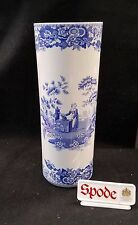 "SPODE BLUE ITALIAN / BLUE ROOM COLLECTION CYLINDER VASE 12 3/4"" ENGLAND *NEW*"