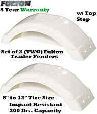 "SET OF TWO FULTON SINGLE AXLE TRAILER FENDERS 8""-12"" WHEELS TOP STEP SKIRT BOAT"