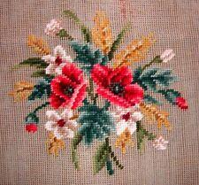 EP 1581 Vintage Red Poppy Floral Bouquet Preworked Needlepoint Canvas
