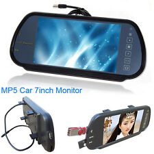 "7"" USB LCD Car Rear View Backup Parking Mirror Monitor Sensor MP5/DVD/TV Screen"