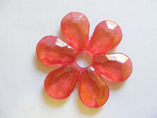 5 Transparent Acrylic Flower Beads - 57mm- Red