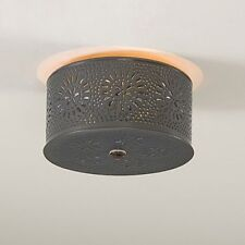 Decorative Punched Tin Round Ceiling Light in Country Tin with Chisel Design