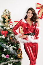 Sexy Women's Metallic Red Santa Hoody & Trouser Fancy Dress Costume Christmas