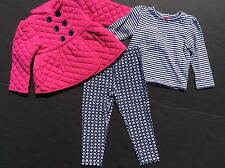 New Little Me Girls 24M Top Pants/Leggings Jacket 3 Piece Outfit Set Fall Winter